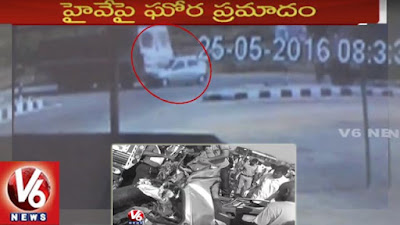CCTV Visuals | Horrific Road Accident in Nizamabad District | Two Lorries Hits Car