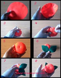 Tutorial cara membuat jeruk dari bahan kain flanel