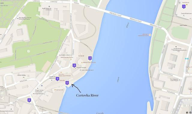 Prague google map around Charles Bridge