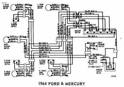 Ford and Mercury 1964 Windows Control Wiring Diagram | All