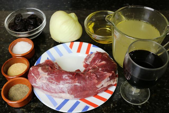 Ingredientes para solomillo relleno de ciruelas al Pedro Ximenez
