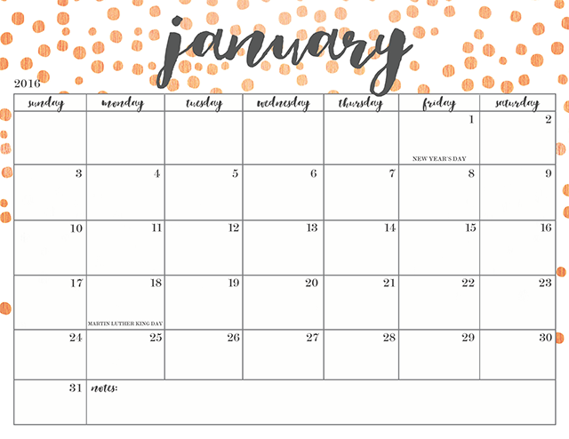 FREE PRINTABLE 2016 CALENDARS - Oh So Lovely Blog