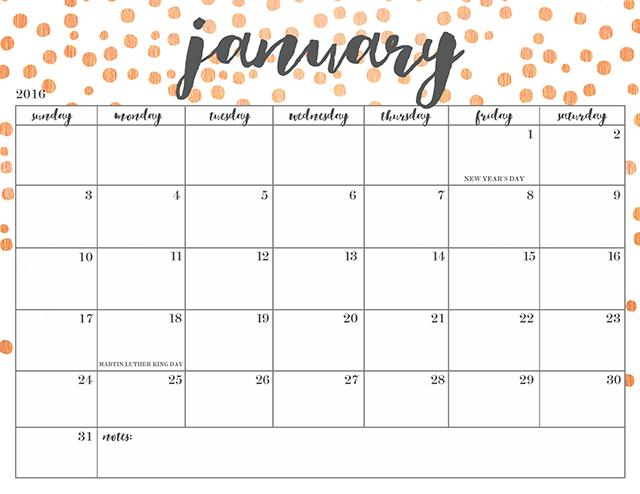 Cute Printable Calendar Free 2016 | Calendar Template 2016