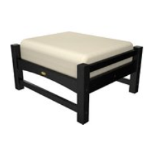 Trex Outdoor Furniture Rockport Club Charcoal Black Ottoman with Birds Eye Sunbrella Cushion