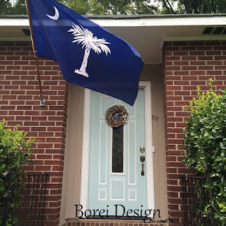 One year of tutorials. Painting a front door Haint Blue, Charleston style for a huge impact.