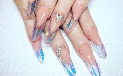 prism acrylic nail design