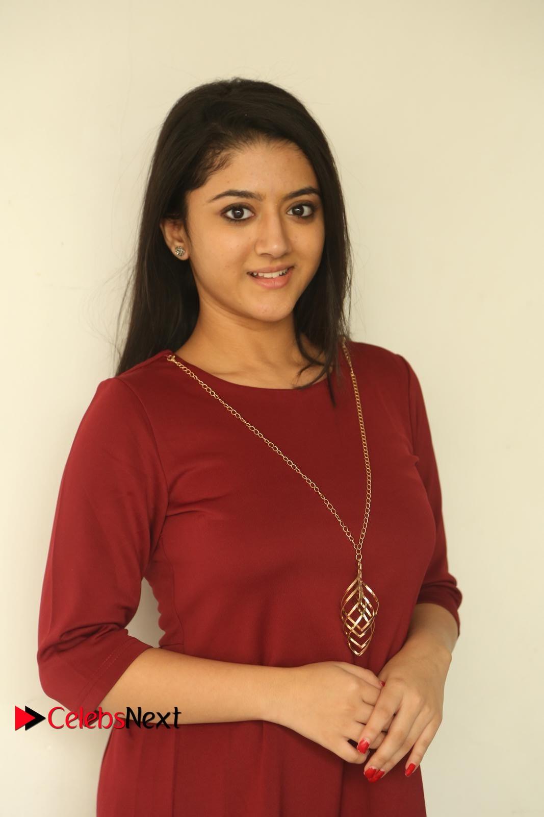 Shriya Sharma extremely cute beautiful Babe in maroon dress at Nirmala Convent Press meet
