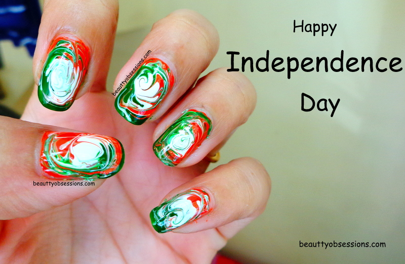 Independence Day Inspired Nail Art Swirl Pattern Dry Marble