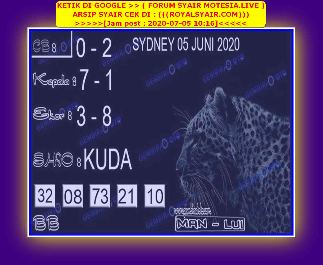 Kode syair Sydney Minggu 5 Juli 2020 139