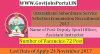 Uttarakhand Subordinate Service Selection Commission Recruitment 2017–72 Deputy Sport Officer, Assistant Instructor