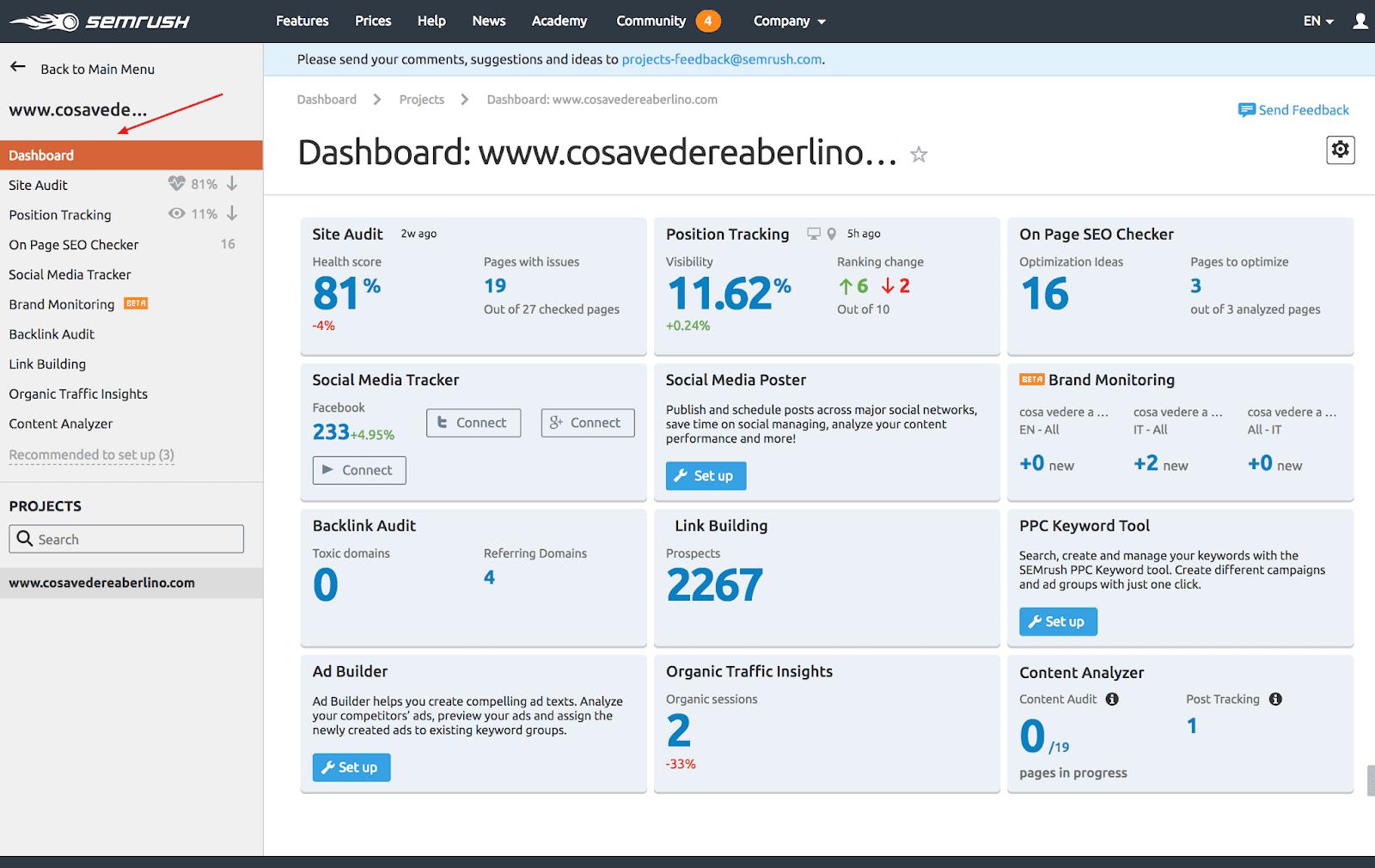 semrush migliore strumento seo dashboard gratuito