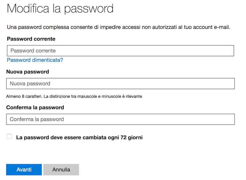 come modificare password acccount microsoft