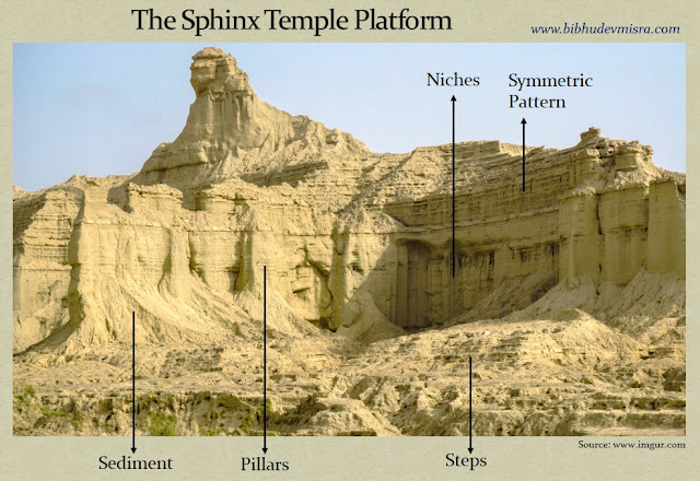 The Balochistan Sphinx is carved on a platform with steps, pillars, niches and a symmetric pattern.