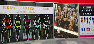 Bikini Barber Babes BBB Front of Barber Shop