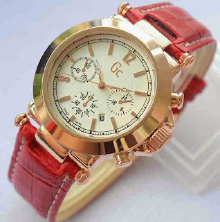 Jual Jam Tangan Gc date red leather ring rosegold