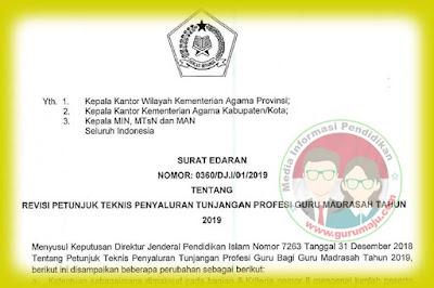 Surat Edaran Revisi Juknis TPG Madrasah Tahun 2019