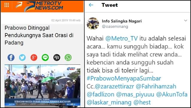 MetroTV Beritakan Prabowo Ditinggal Pendukung saat Orasi di Padang, Warga Minang Geram
