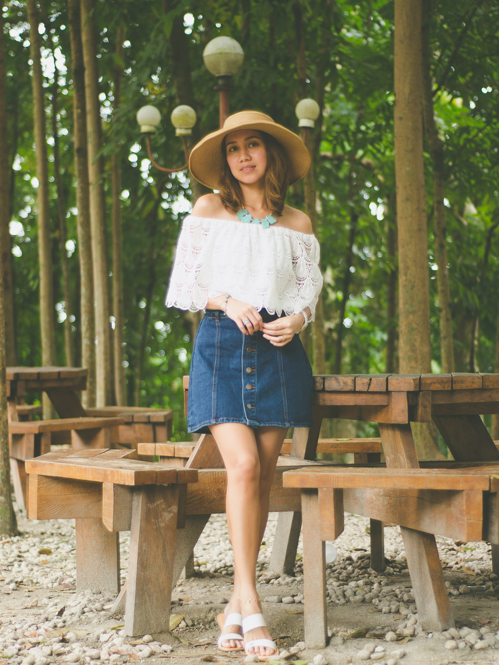 Alchemy of Fashion, Off Shoulder Top, Wide brimmed hat, Turquoise necklace, Denim Button-front skirt, A-Line Skirt, Seventies Trend, 70s Fashion, Celine Sandals, Denim A-line skirt, Cebu Fashion Blogger, Toni Pino-Oca, Cebu Fashion Blog, Cebu Blogger, Cebu Bloggers, Cebuana, Summer Outfit, Summer Style, Salty Ripples, Anklet