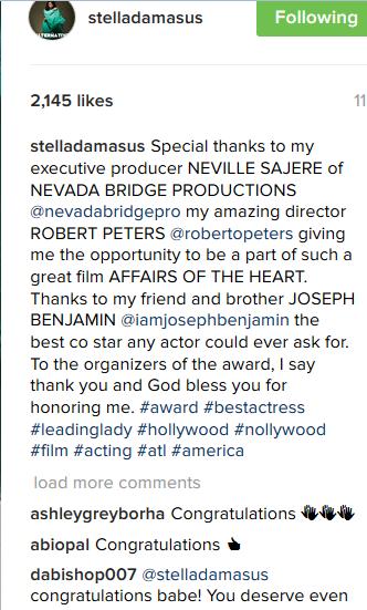 Stella Damasus Wins Lead Actress Diaspora Award At The ACI Awards 2016