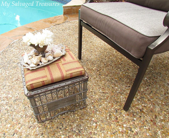 how to make a footstool with an old milk crate