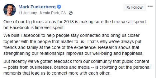 Mark Zuckerberg Facebook post