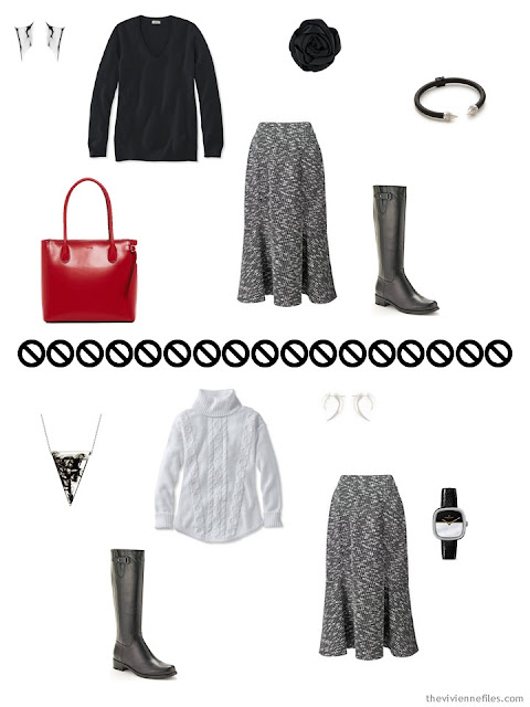 2 ways to wear a tweed skirt from a black, white and red business Tote Bag Travel capsule wardrobe for business