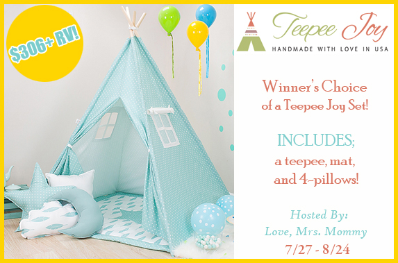 Winner's Choice of Teepee Joy Set Giveaway! $306+ RV! Ends 8/24