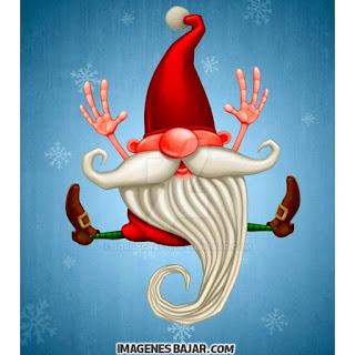 Dibujo del Viejo Pascuero saltando. Ilustración de Papá Noel