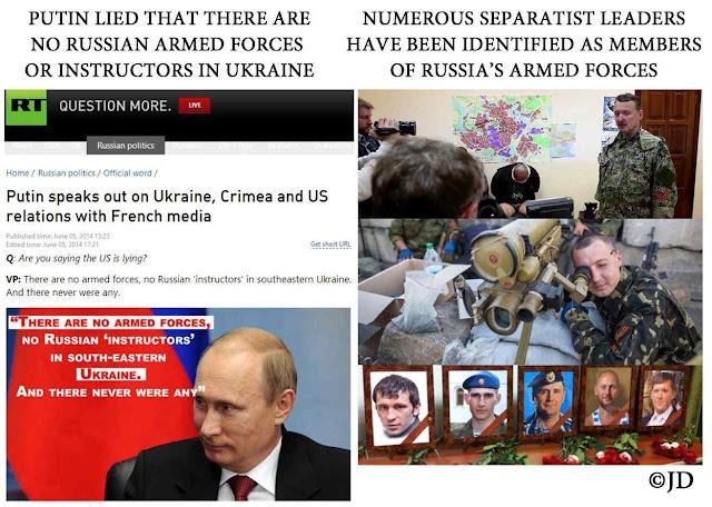 Putin: não havia soldados russos no leste da Ucrânia. Mas estava cheio deles. Russia Today não teme mentir, teme o chefe.