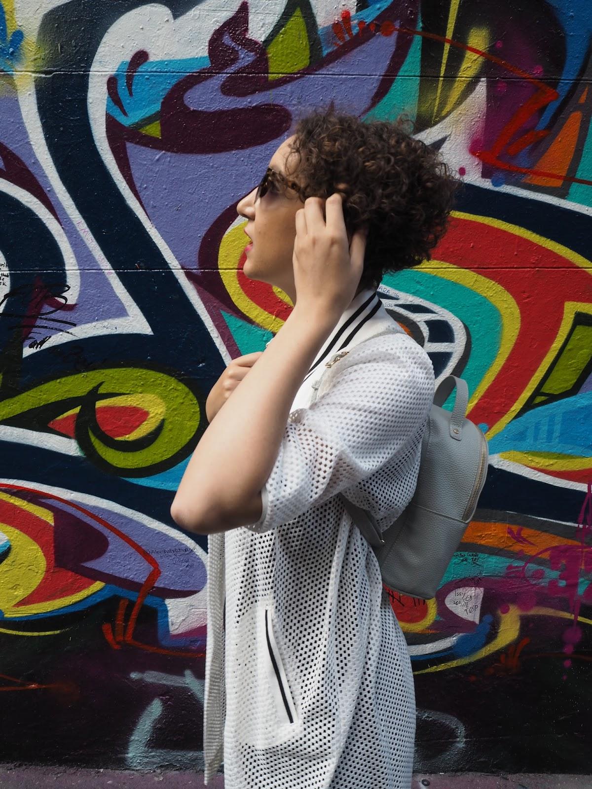 Monochrome outfit on Melbourne's Hosier Lane