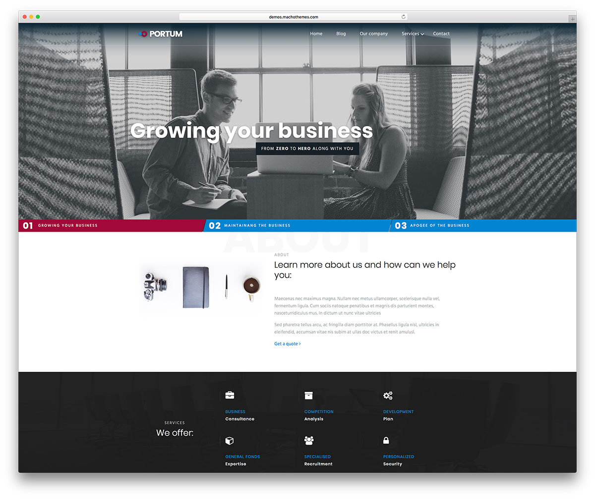 Portum wordpress template best for choice portum is a modern and flexible free wordpress business website theme the perfect toolkit for business small and large to set up shop online flashek Images