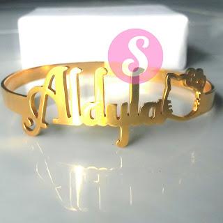 gelang nama lapis emas polos - aldy