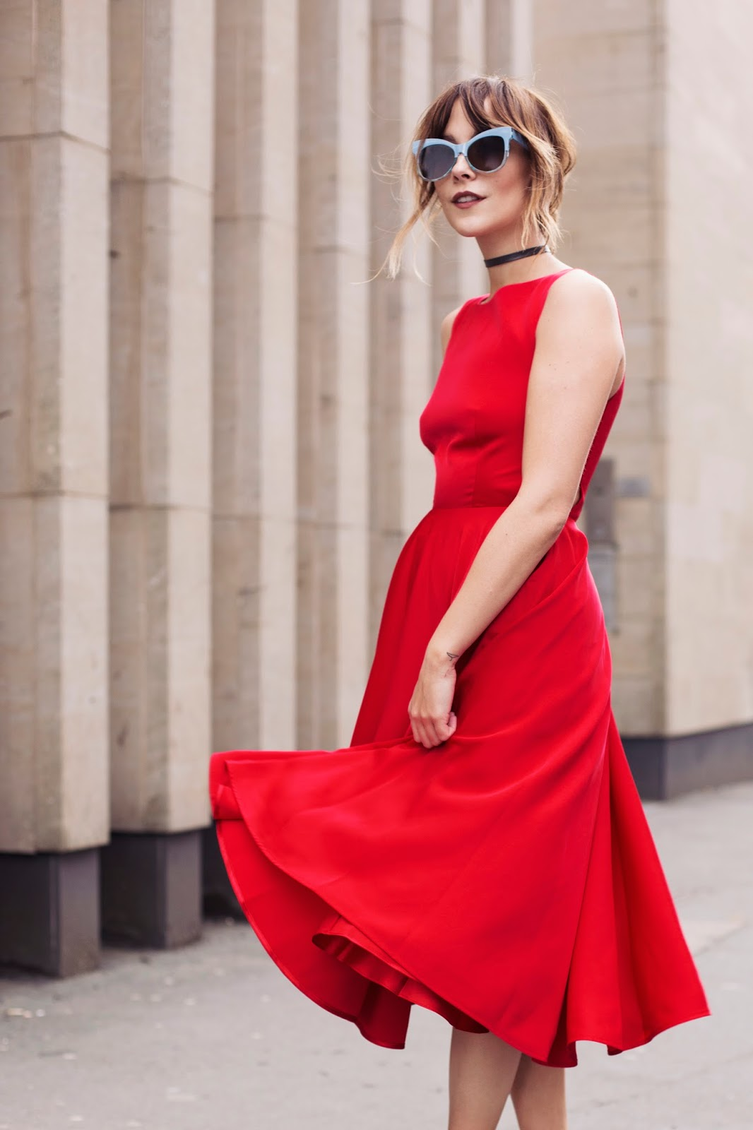 Wedding guest full red satin dress from Selfridges by Ted Baker