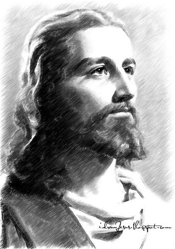 Jc02 jesus christ pencil sketch art