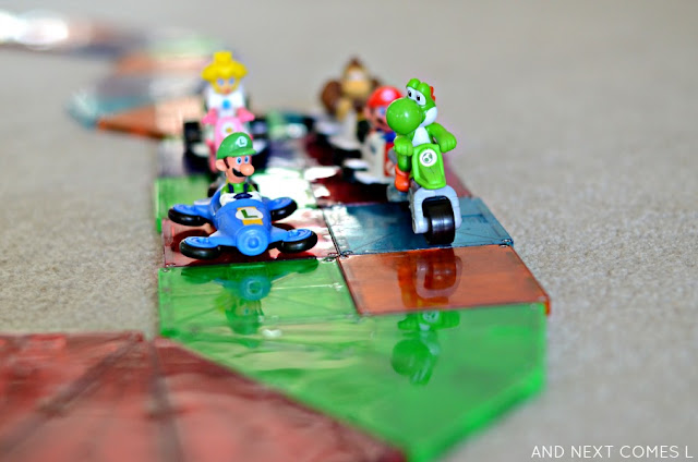 Mario Kart Rainbow Road Small World with Magna-Tiles from And Next Comes L
