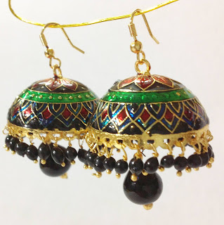 Meenakari Jhumkas - Zaamor Diamonds
