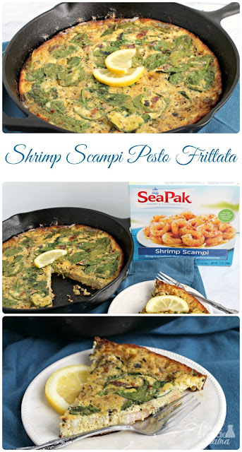Light & flavorful, this easy to make Shrimp Scampi Pesto Frittata is the perfect addition to your spring brunch, Lent, or Easter menu.