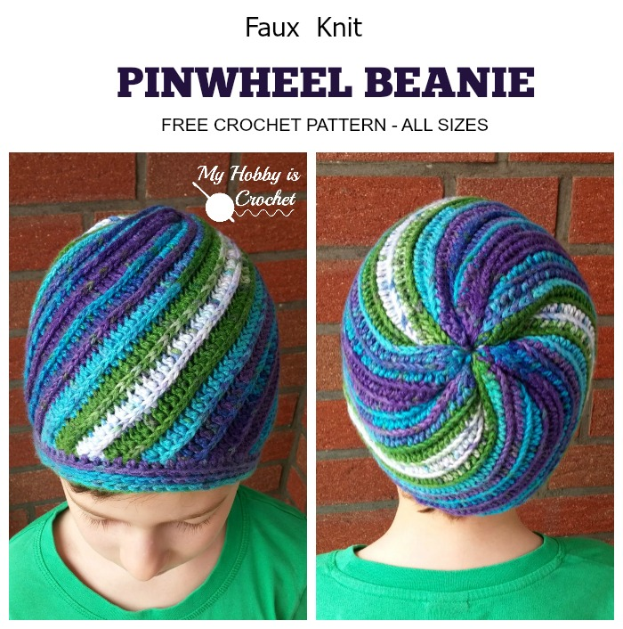 Faux Knit Pinwheel Beanie (All sizes) - Free Crochet Pattern