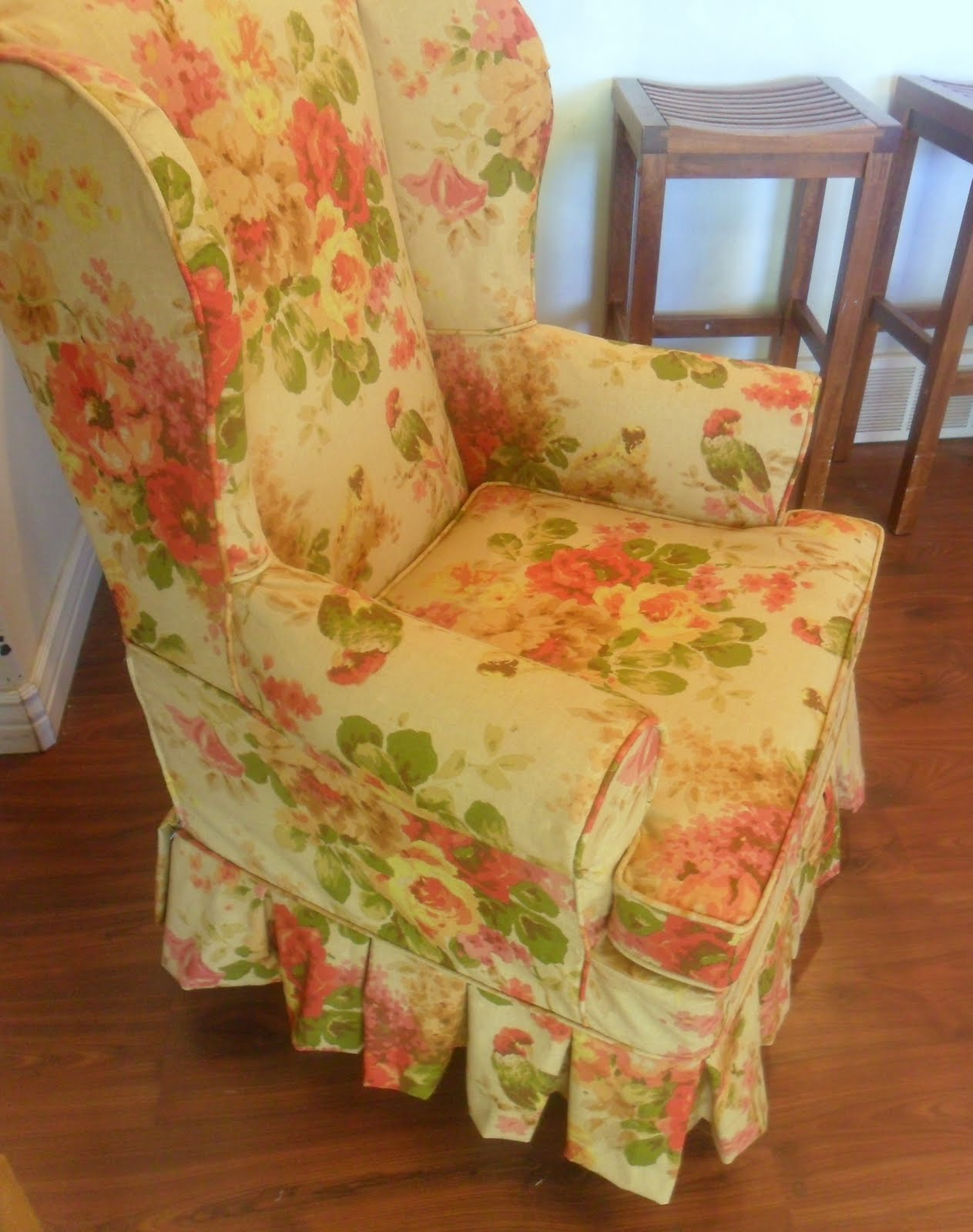 floral slipcovers for wingback chairs | Floral Wingback chair with boxpleat skirt and out of town ...