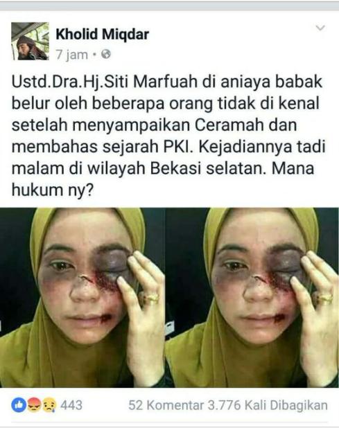 Kadung Viral Unggahan Soal Ustazah Dihajar Usai Ceramah Soal PKI di Bekasi, Ternyata Faktanya Begini
