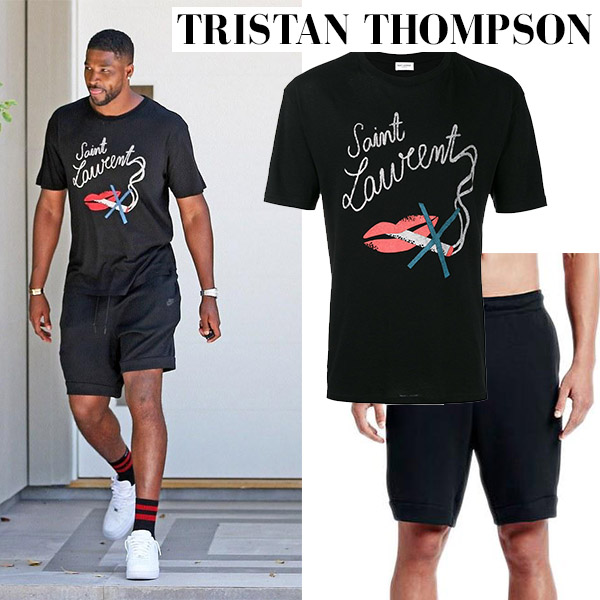 Tristan Thompson in black t-shirt saint laurent and black shorts nike mens street fashion