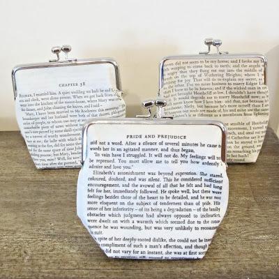 image literature clutch purse jane eyre jane austen wuthering heights pride and prejudice charlotte bronte emily bronte purse domum vindemia handmade fabric