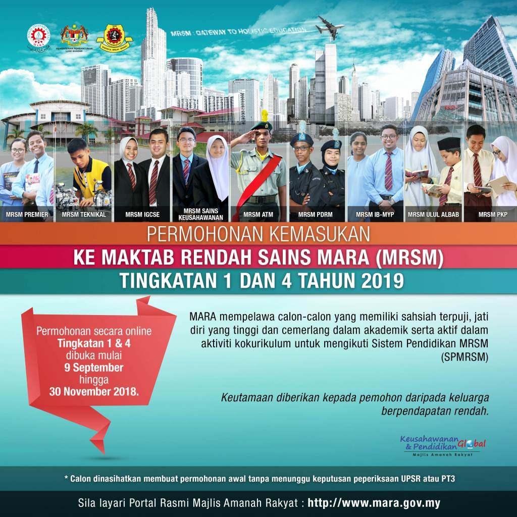 permohonan MRSM 2019 tingkatan 1 tingkatan 4