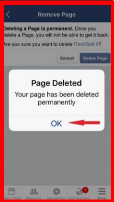 how to delete a facebook page on an iphone