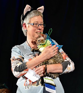 Teri and Coco, the Couture Cat at the BlogPaws Pawject Runway