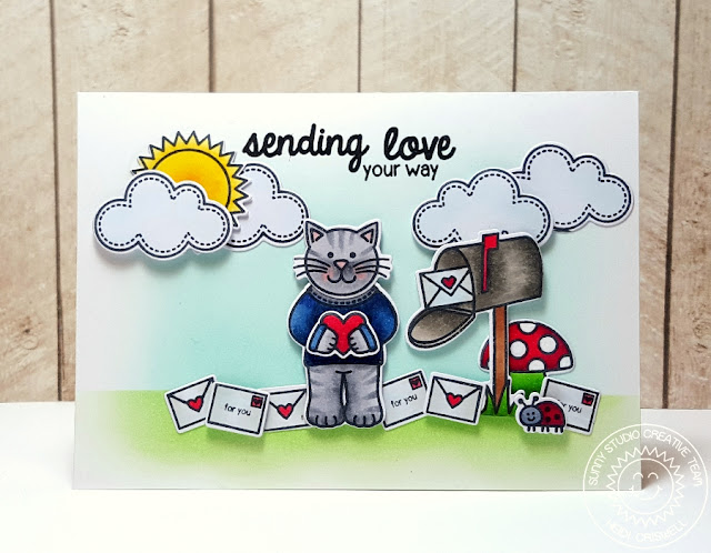 Sunny Studio: Valentine's Day Sending Love Card by Heidi Criswell (using Sending My Love, Backyard Bugs and Sunny sentiments stamps & dies)