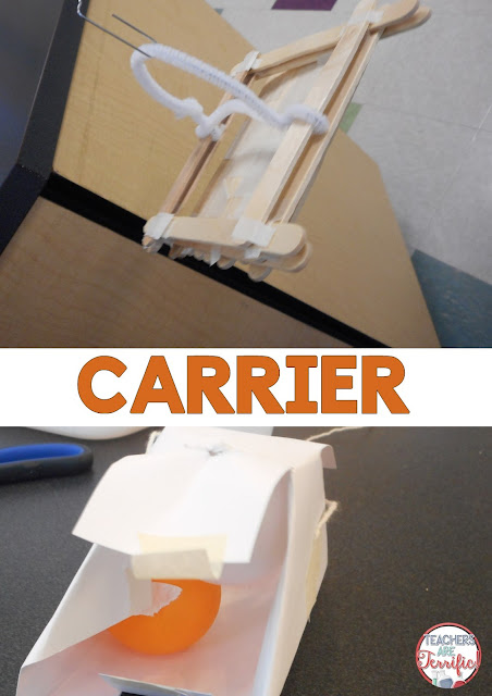 STEM Challenge: Build a passenger car for a bridge system. The next decision was the passenger carrier. What should it look like? Wow! We had so many different ways to cross that river! Our passengers were ping pong balls! Check this post for more!