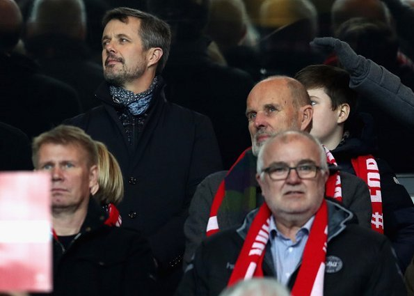 Crown Prince Frederik, Crown Princess Mary, Prince Christian, Prince Joachim and Prince Felix at Parken Stadium