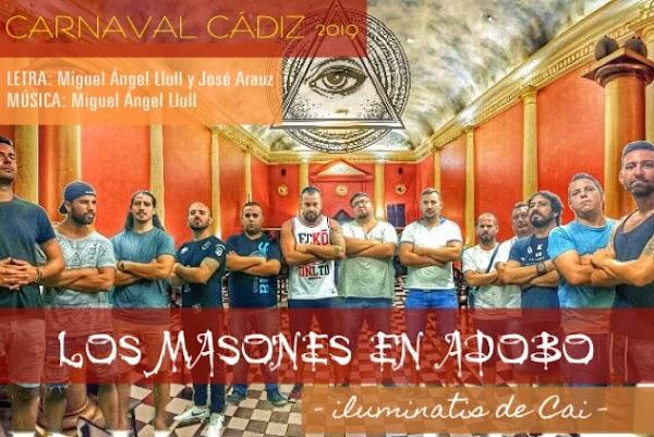 """Nombre de la chirigota de Miguel Angel Llull Segura y José Aráuz """"Los Masones en Adobo"""" (Iuminatis de Ca) para el COAC 2019"""