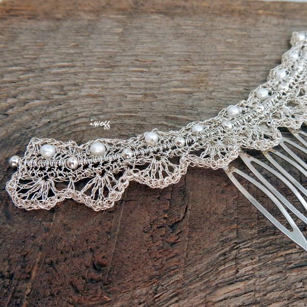 Oryginalny grzebień ślubny z perełkami